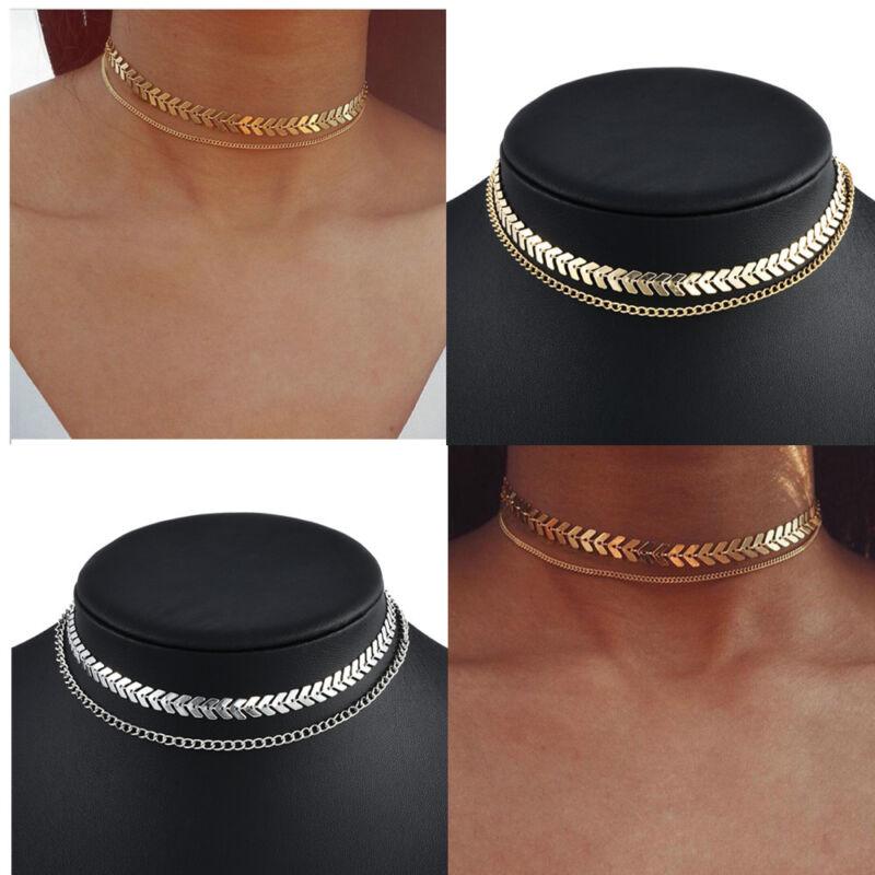 Jewellery - Fashion 925 Silver Gold Choker Chunky Chain Bib Necklace Women Jewelry Pendant
