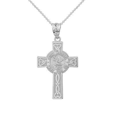 Sterling Silver Saint Michael Pray For Us Celtic Heart Cross Pendant Necklace