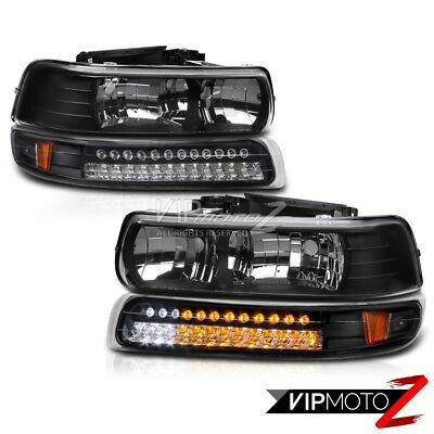 [LED POWER] 00-06 Suburban Tahoe Black SMD Bumper Signal Lamp+Headlights NEWEST