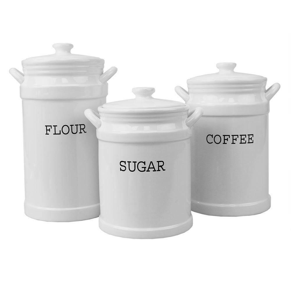3 PC Ceramic Canister Set Printed Coffee, Sugar, Flour Stora