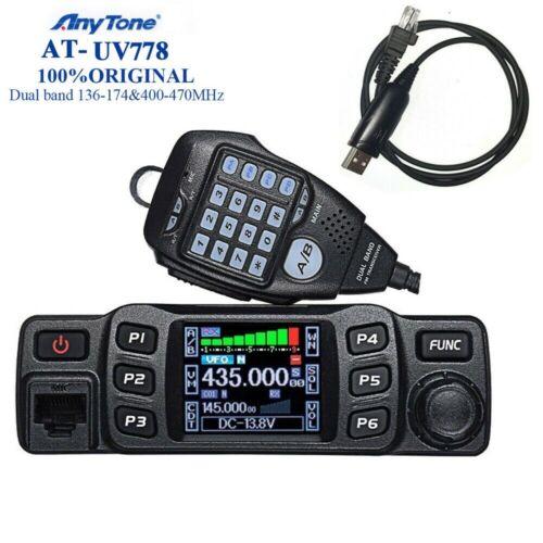 AnyTone AT-778UV Dual Band Transceiver Mobile Radio VHF&UHF 2 Way Radio + Cable