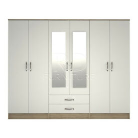 Beatrice wardrobe 4 you, 2,28m wide 6 door oak and white wardrobe