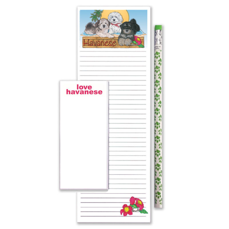 Havanese To Do List Magnetic Shopping Pad Notepad & Pencil Gift Set