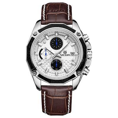 Megir Men Genuine Leather Strap Quartz Analog Wrist Watch With Date 3 Sub Dials