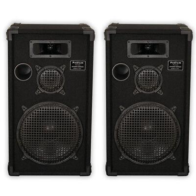 "Podium Pro by Goldwood E1200C Passive Speakers 12"" Pair 3 Way PA DJ Karaoke Home"