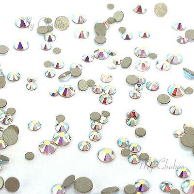 144 mixed tiny sizes ss3-ss10 Swarovski 2058 Flatback nail art CRYSTAL AB 001 AB