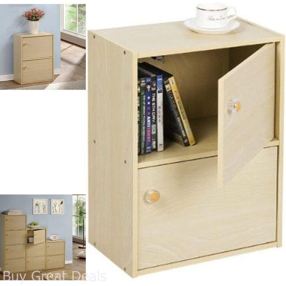 Furinno PASiR 2-Tier Bookcase with 2 Doors, Round Handles