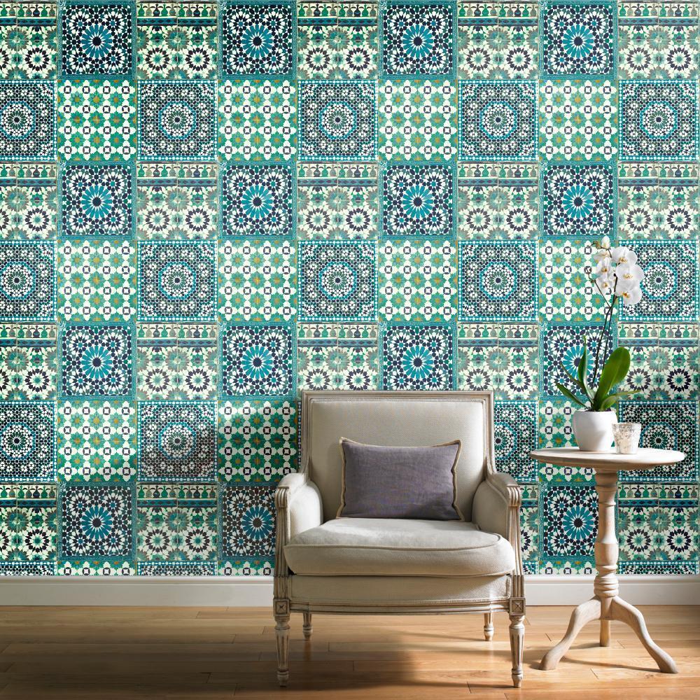 grandeco tapete luxus botanisch marokkanische kachel muster in blaugr n ebay. Black Bedroom Furniture Sets. Home Design Ideas