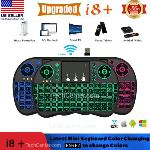 Mini wireless Keyboard i8 Backlit 2.4ghz   Touchpad 3 Color LED Latest Updated