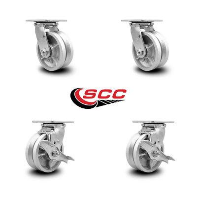 Scc 5 X 2 V Groove Semi Steel Wheels Caster Set 4 2 Swivel2 Swivel Wbrakes