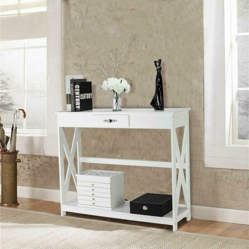 Modern White Finish Entry Hall Console Table with Drawer