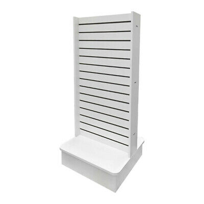 White 25x25x54 Display Tower 2 Sided Slatwall Knockdown Displays Floor Stand