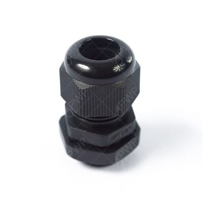 "10 Pack) 1/4"" Black Nylon Cable Glands Strain Relief WIth Gasket and Lock-Nut"