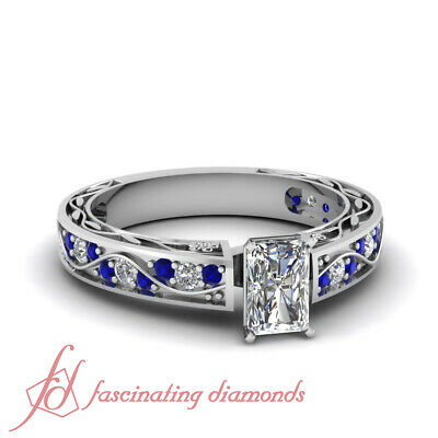 1.30 Ct Radiant Cut E-Color Diamond & Blue Sapphire Pave Set Engagement Ring GIA