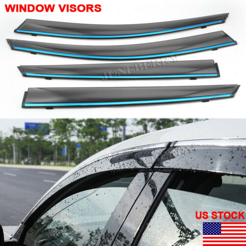 4x Window Visors Shades Vent Rain Sun Guards for Honda Civic 2001-05 4Door Sedan