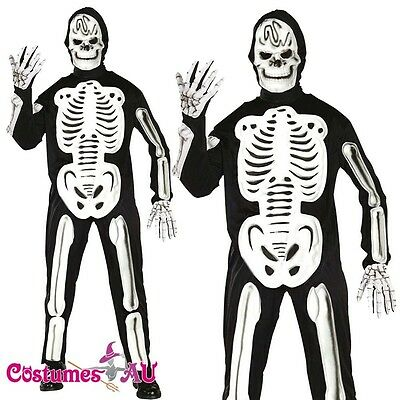 Mens Skeleboner Skeleton Halloween Fancy Dress Costume Adult Outfit + Mask - Skeleboner Halloween