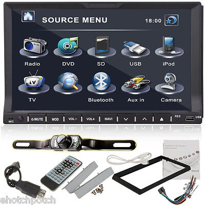 """7"""" HD Touch Screen Double 2 DIN Car Stereo DVD Player Bluetooth Radio+Camera"""