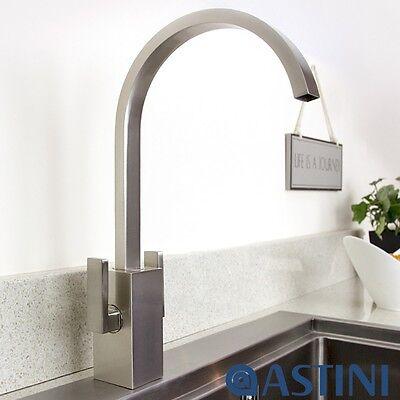 Astini Metropolitan Brushed Steel Twin Lever Kitchen Sink Mixer Tap HK65