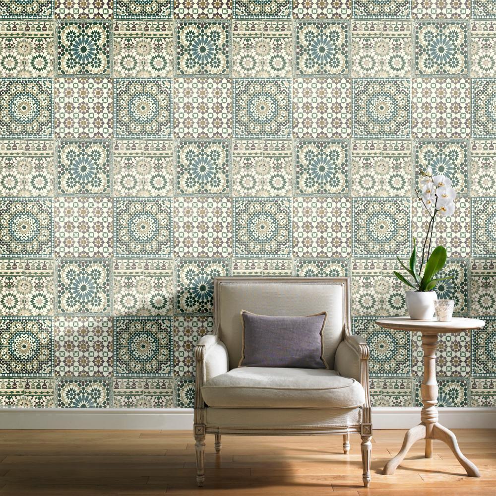 grandeco tapete luxus botanisch marokkanische kachel muster gr n ba2502 ebay. Black Bedroom Furniture Sets. Home Design Ideas