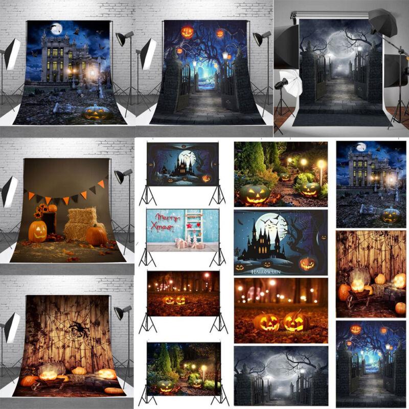USA Photography Backdrop Halloween Cloth Pumpkin Castle Studio Props Background