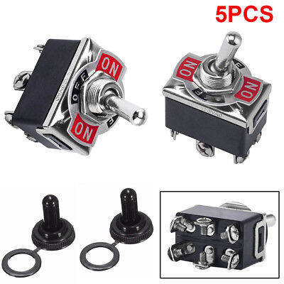 5x 3 Position 6 Terminal Onoffon Dpdt Toggle Switch Waterproof Boot 20a 125va