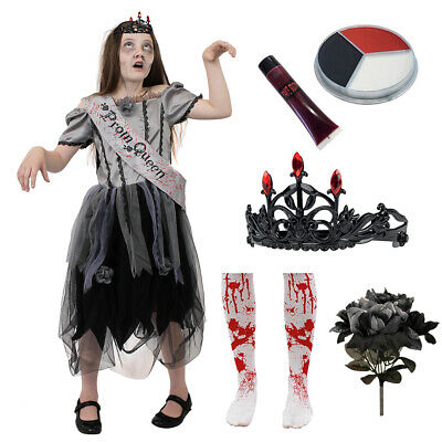 Dead Prom Queen Costume Kids (GOTHIC ZOMBIE PROM QUEEN GIRLS HALLOWEEN GOTH FANCY DRESS CHILDS DEAD)