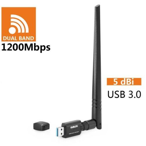 Dual Band 2.4/5Ghz 1200Mbps Wireless WiFi Network USB Adapter w/Antenna 802.11AC