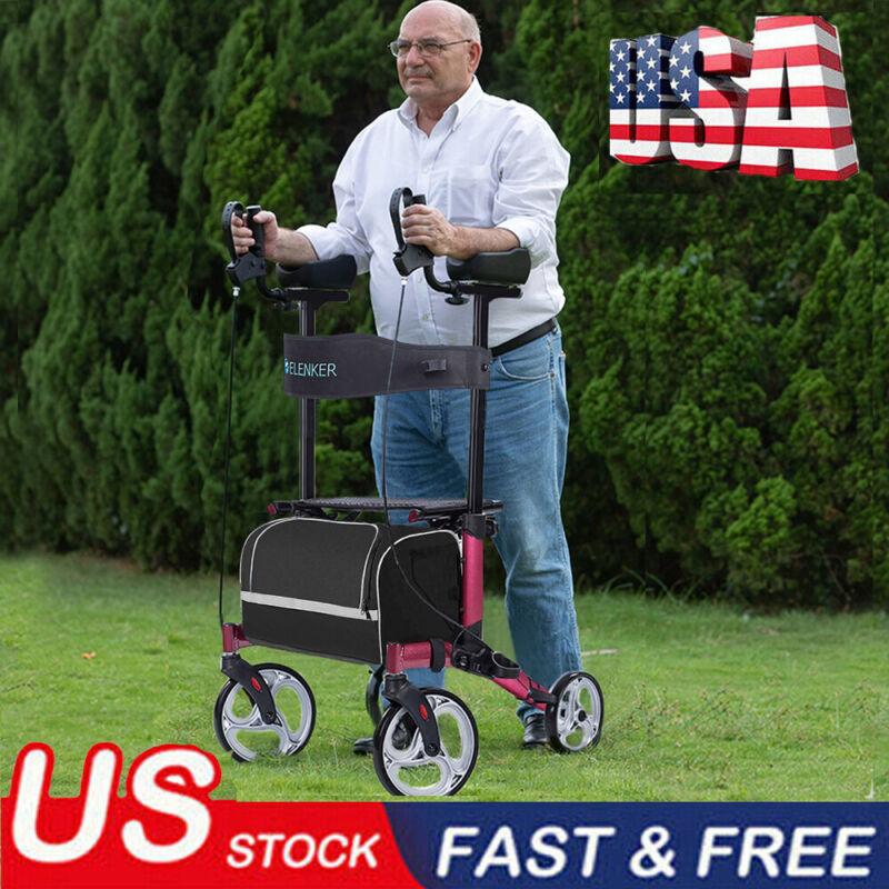 2020 OEM Upgrade Folding Upright Rollator Walker Medical Seat & Back 4 Wheel USA