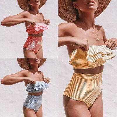 Two-piece High Waist Lady Bikini Set Swimwear Striped Swimsuit Strapless Bandeau