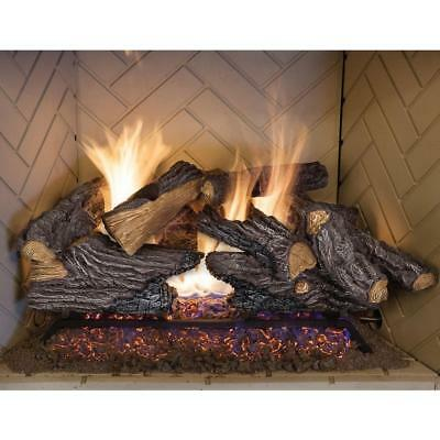 Vented Gas - 24 In Split Oak Vented Natural Gas Log Set Dual Burner Chimney Fireplace Fire