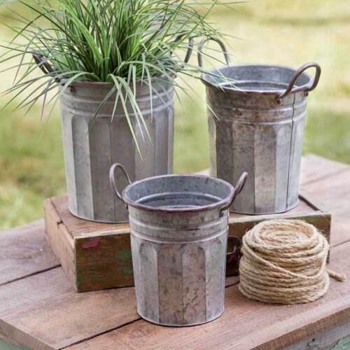 Tall Garden Pails Corrugated Galvanized Metal With Loop Handles - Set of 3 Three