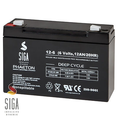 AKKU 12AH 6V AGM GEL Batterie Peg PEREGO 6 Volt Kinder Auto Wagen Fahrzeug 10Ah
