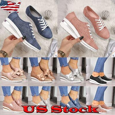 Women Slip On Wedge Sneakers Trainer Breathable Lace Up Casual Pumps Shoes Size