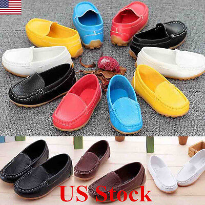 US Kid Boys Girls Toddler Slip On Soft Loafers Oxford Flats Casual PU Boat Shoes](Girl Flats Shoes)