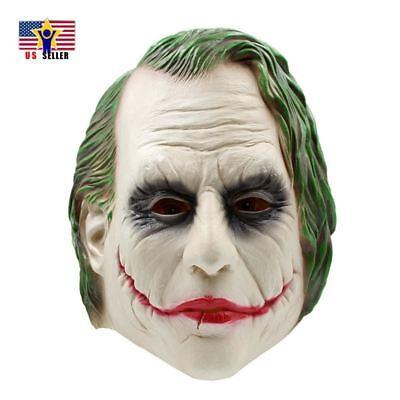 Dark Knight Joker Costume Latex Rubber Head Horror Scary Mask Halloween Party - Joker Dark Knight Halloween Costume