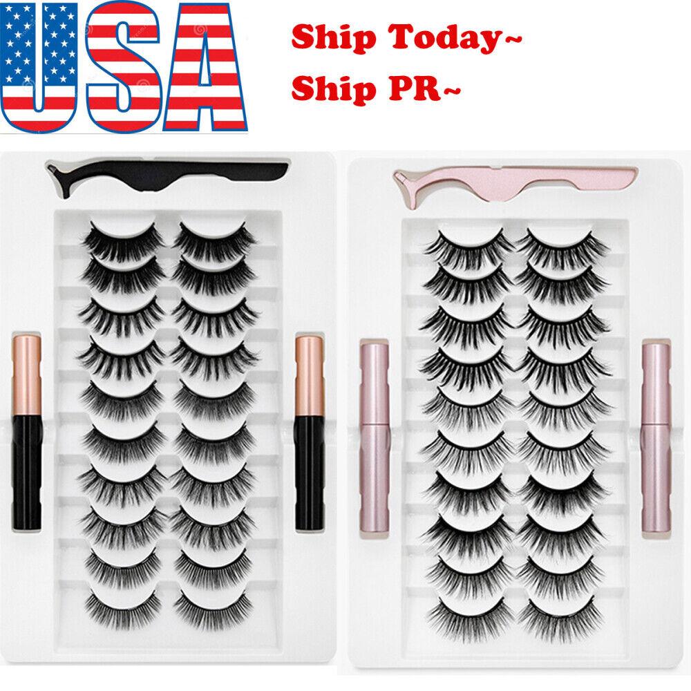 5/7/10 Pairs Magnetic False Eyelashes 2 Eyeliner liquid Easy
