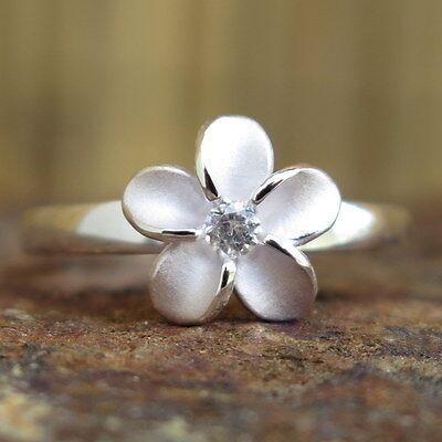 Hawaiian 925 Silver Single Plumeria Flower CZ Love Wedding Ring Band 10mm SR2021