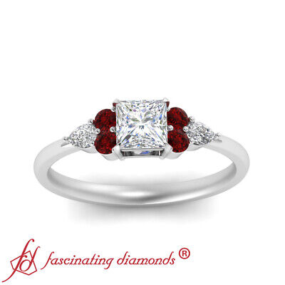 Princess Cut SI1 Diamond And Ruby Gemstone Tapered Edge Engagement Ring 0.90 Ctw 1