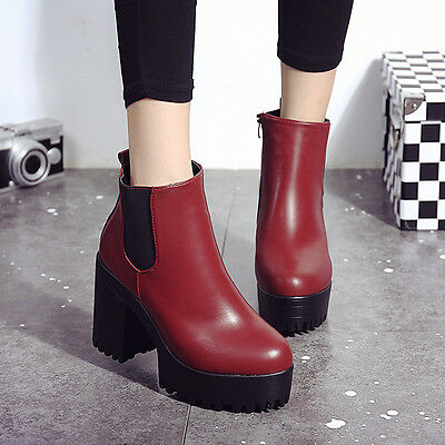 Fashion Sexy Women Boots Square High Heel Platforms Leather Pump Winter Boots