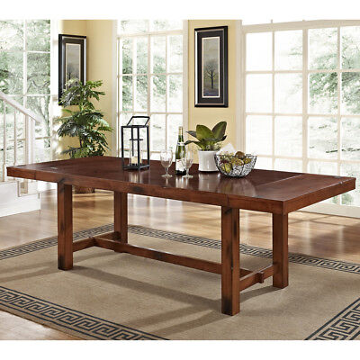 Extra Large Dining Table Rustic Adjustable Wood Expandable Double Trestle Tables ()