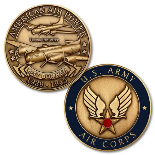 """Boeing B-17 Flying Fortress Bomber Challenge Coin 1 1/2"""" WWII Aviation NTM-16021"""
