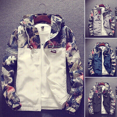 Fashion Men's Casual Camo Thin Hooded Jacket Wind Breaker Sport Loose Coat Tops
