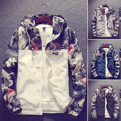 Fashion Men's Casual Camo Thin Hooded Jacket Wind Breaker Sport Loose Coat Tops