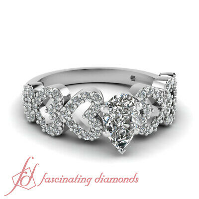 3/4 Carat Pear Shaped And Round Diamond Pave Set Delicate Engagement Rings GIA