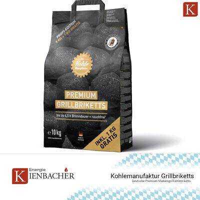✅ 10kg Kohlemanufaktur Premium Kohle BBQ Brikett GrillBriketts 4,5h Brenndauer ✅