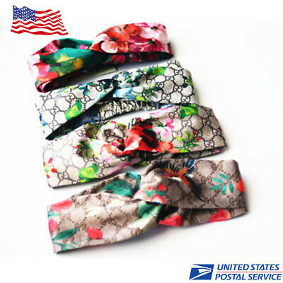 Women Yoga Elastic Stretchable Floral Hair Band Headband Turban Twisted Knotted