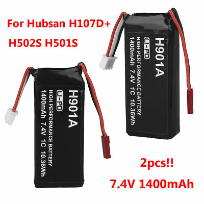 2Pcs 7.4V 1400mAh 1C Lipo Battery Replace For Hubsan H107D+/H502S/H501S RC Drone
