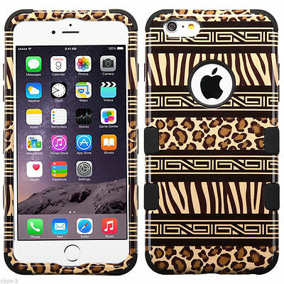 Tuff Hybrid Hard Case Cover Zebra Cheetah Leopard For Apple Iphone 6S Plus 5 5
