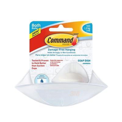 Command BATH14-ES Bath Soap Dish with Water-Resistant Strips, Frosted