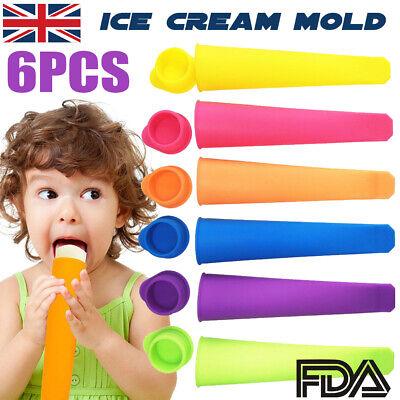 6x Silicone Maker Mould Ice Cream Push Up Frozen Stick Lolly Yogurt Jelly Pop UK